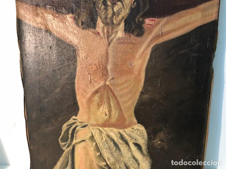 Arte: PINTURA CRISTO OLEO SOBRE TELA PARA RESTAURAR, FIRMADO E.ROVIRA. - Foto 4 - 114419947