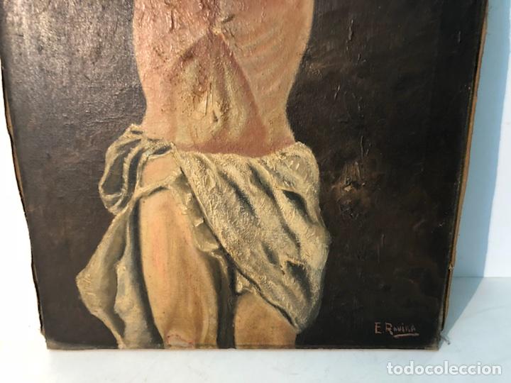 Arte: PINTURA CRISTO OLEO SOBRE TELA PARA RESTAURAR, FIRMADO E.ROVIRA. - Foto 5 - 114419947