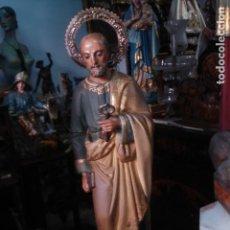 Arte: EXTRAORDINARIA TALLA DE SAN PEDRO CON LA LLAVE DEL CIELO. Lote 114421459