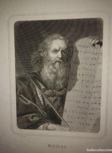 Grabado Moisés Siglo XIX