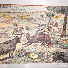 Arte: 2 DIBUJO A PLUMILLA Y COLOR DE A. MARTIN MAQUEDA UNO ES UNA CARTA CON DIBUJO. Lote 114584987