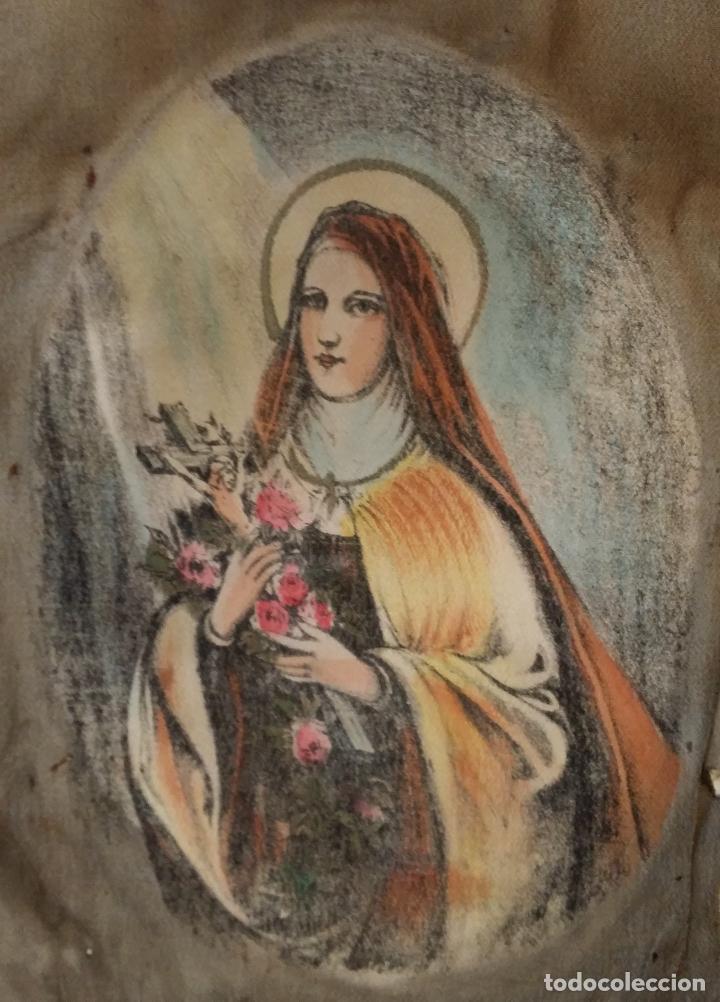 ANTIGUA VIRGEN PINTADA SOBRE SEDA (Arte - Arte Religioso - Pintura Religiosa - Otros)