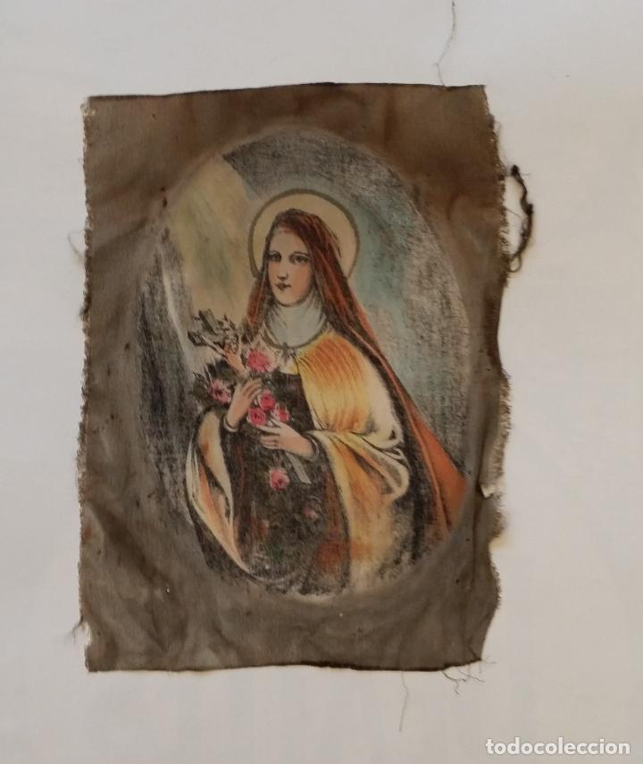 Arte: Antigua Virgen pintada sobre seda - Foto 2 - 114656095