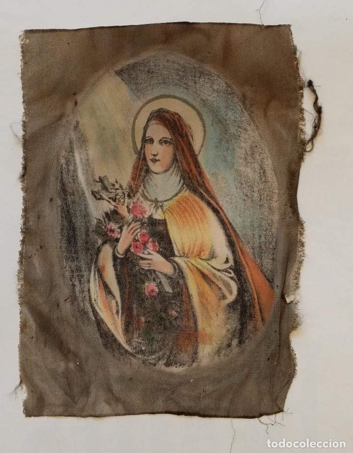 Arte: Antigua Virgen pintada sobre seda - Foto 3 - 114656095