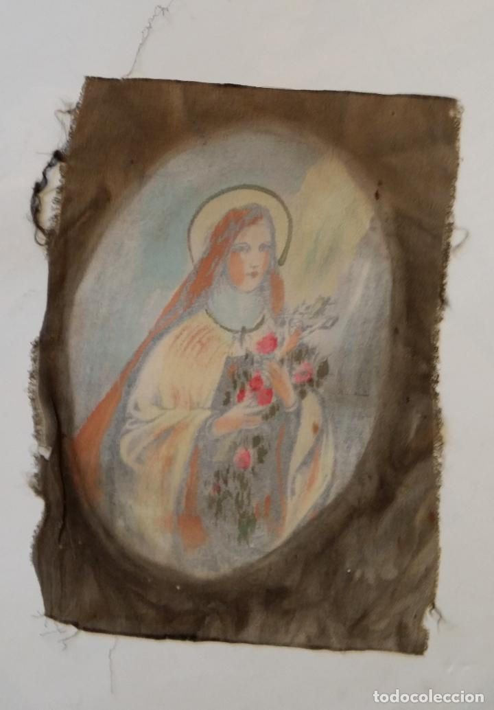 Arte: Antigua Virgen pintada sobre seda - Foto 5 - 114656095