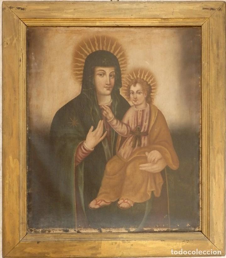 Arte: Virgen con Niño. Oleo sobre lienzo. Siglos XVIII-XIX. Medidas de 83 x 70 cm. - Foto 2 - 114659739