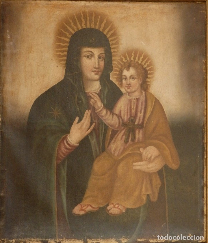Arte: Virgen con Niño. Oleo sobre lienzo. Siglos XVIII-XIX. Medidas de 83 x 70 cm. - Foto 3 - 114659739