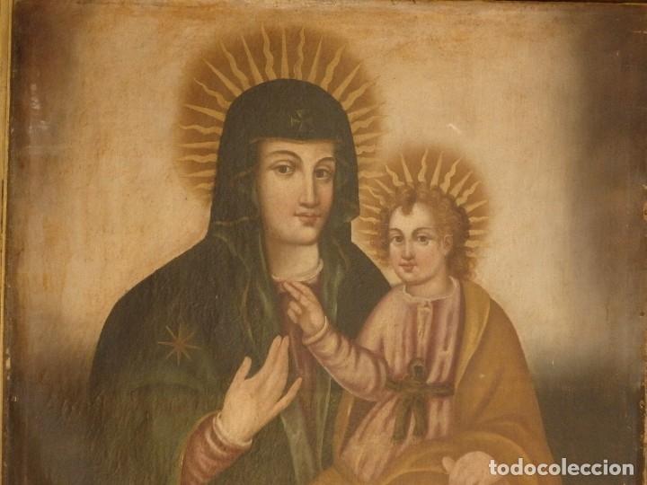 Arte: Virgen con Niño. Oleo sobre lienzo. Siglos XVIII-XIX. Medidas de 83 x 70 cm. - Foto 4 - 114659739
