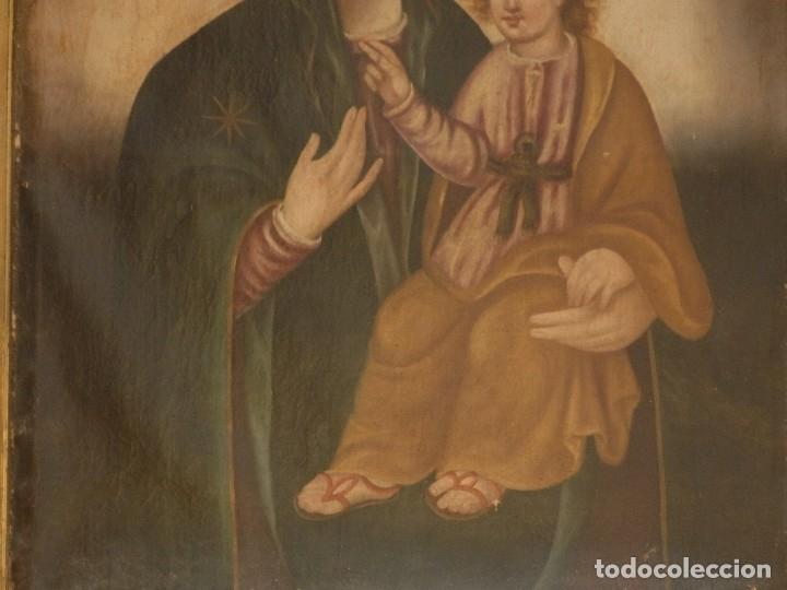 Arte: Virgen con Niño. Oleo sobre lienzo. Siglos XVIII-XIX. Medidas de 83 x 70 cm. - Foto 5 - 114659739