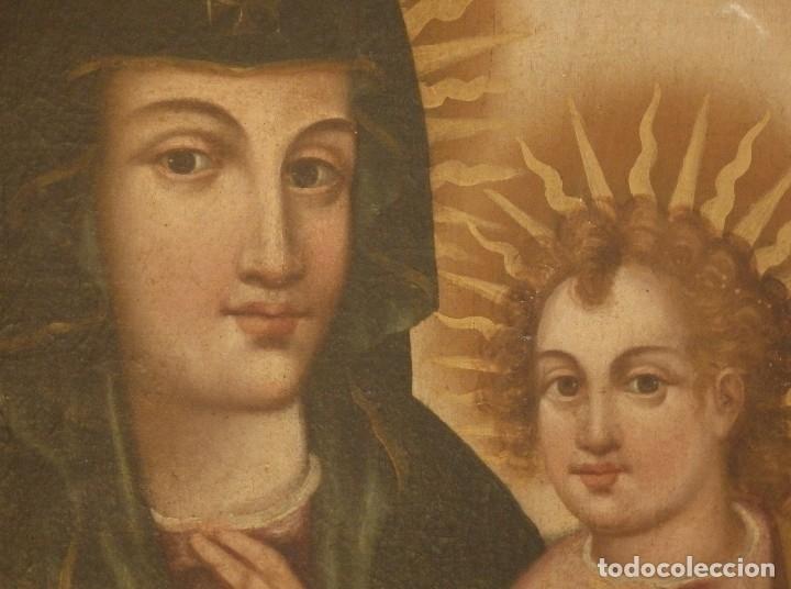 Arte: Virgen con Niño. Oleo sobre lienzo. Siglos XVIII-XIX. Medidas de 83 x 70 cm. - Foto 7 - 114659739