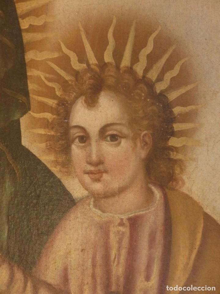 Arte: Virgen con Niño. Oleo sobre lienzo. Siglos XVIII-XIX. Medidas de 83 x 70 cm. - Foto 8 - 114659739