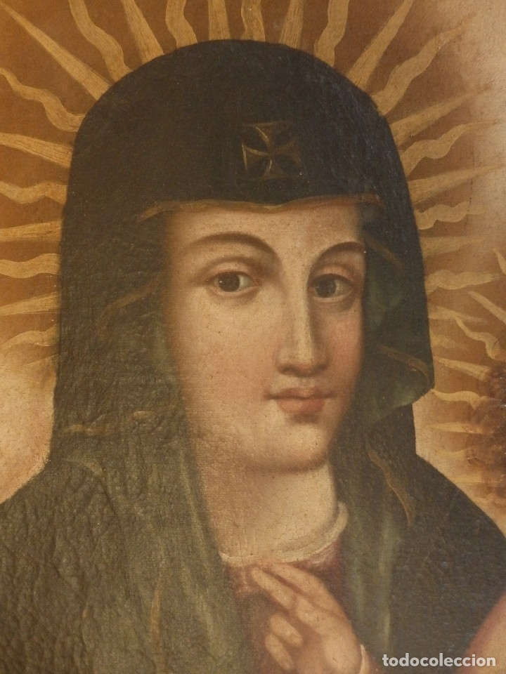 Arte: Virgen con Niño. Oleo sobre lienzo. Siglos XVIII-XIX. Medidas de 83 x 70 cm. - Foto 9 - 114659739