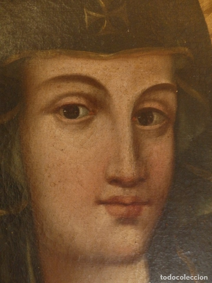 Arte: Virgen con Niño. Oleo sobre lienzo. Siglos XVIII-XIX. Medidas de 83 x 70 cm. - Foto 15 - 114659739