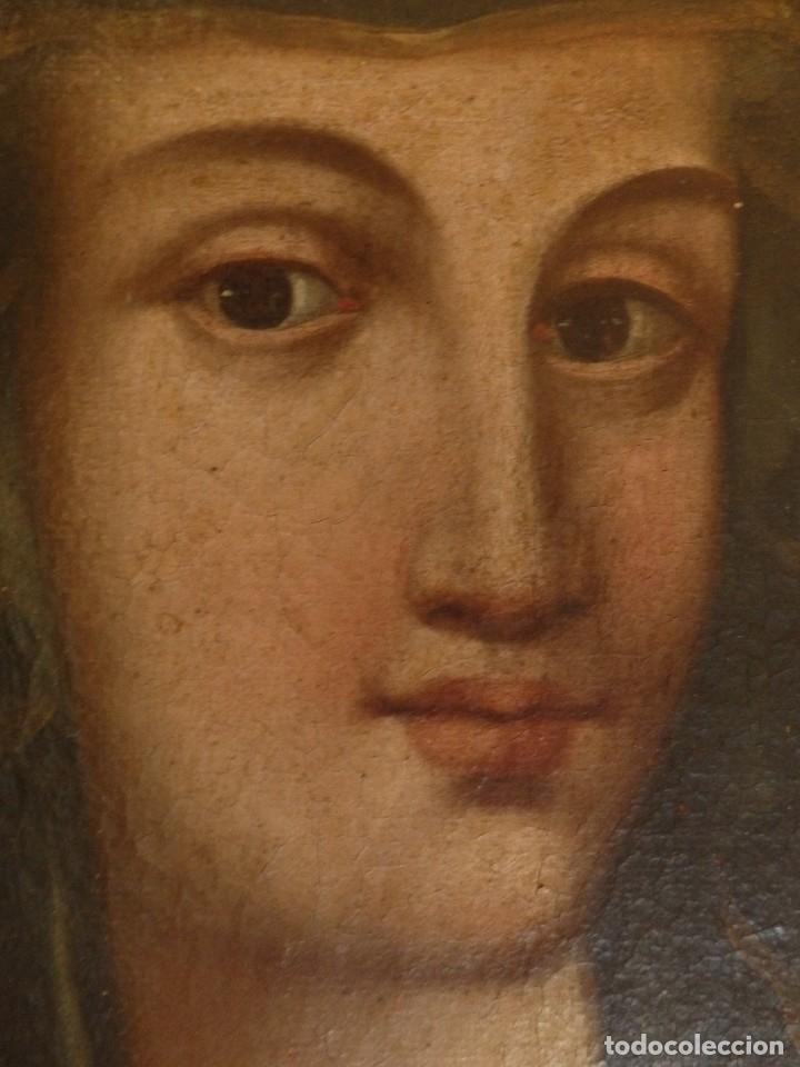 Arte: Virgen con Niño. Oleo sobre lienzo. Siglos XVIII-XIX. Medidas de 83 x 70 cm. - Foto 16 - 114659739