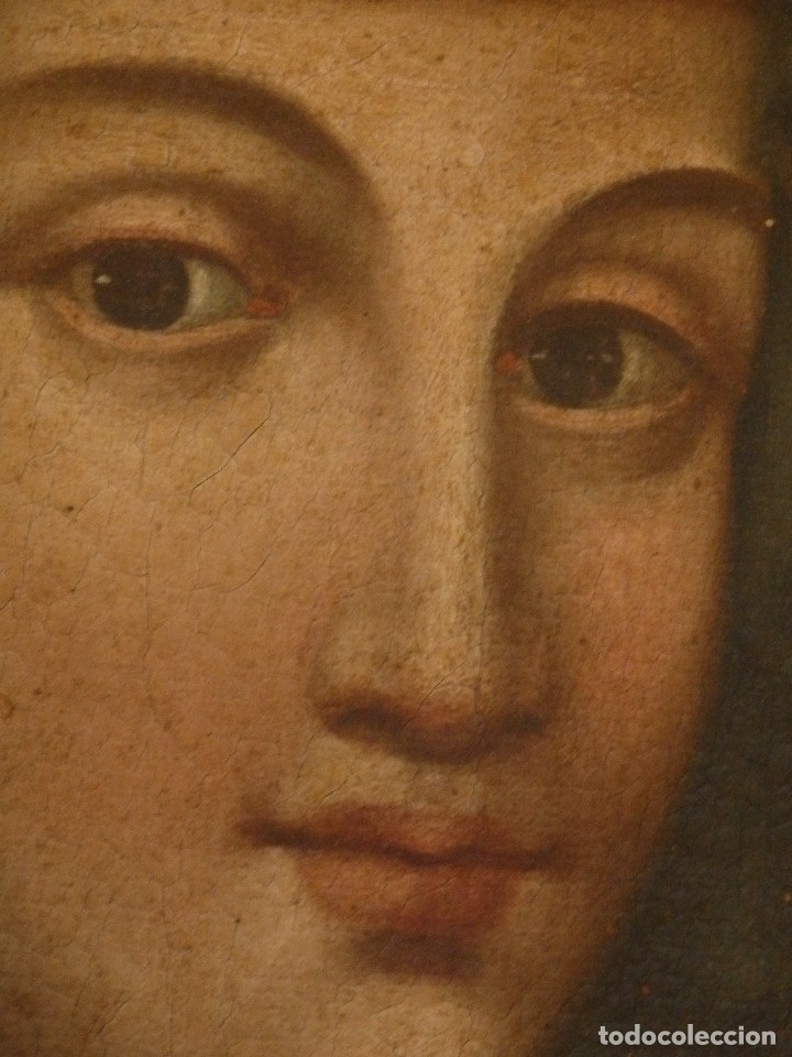 Arte: Virgen con Niño. Oleo sobre lienzo. Siglos XVIII-XIX. Medidas de 83 x 70 cm. - Foto 17 - 114659739