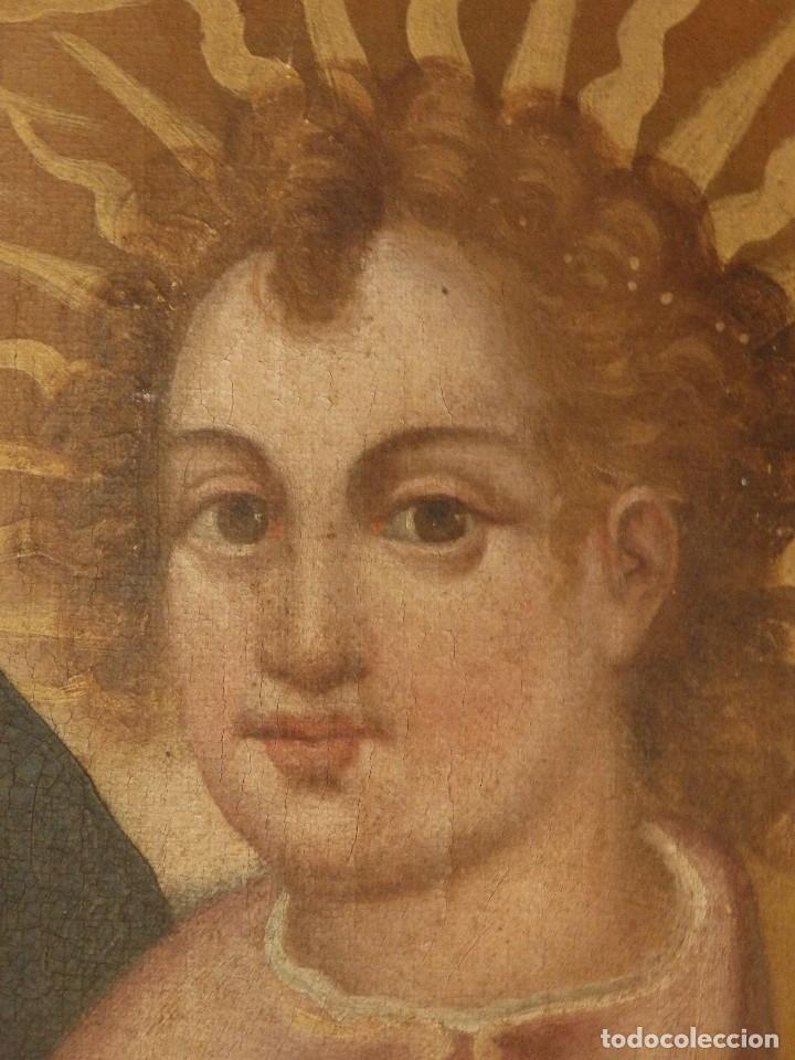Arte: Virgen con Niño. Oleo sobre lienzo. Siglos XVIII-XIX. Medidas de 83 x 70 cm. - Foto 19 - 114659739
