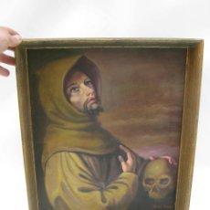 Arte: CUADRO PINTURA OLEO RELIGIOSA SANTO MONJE CON CALAVERA SAN FRANCISCO. Lote 114680467