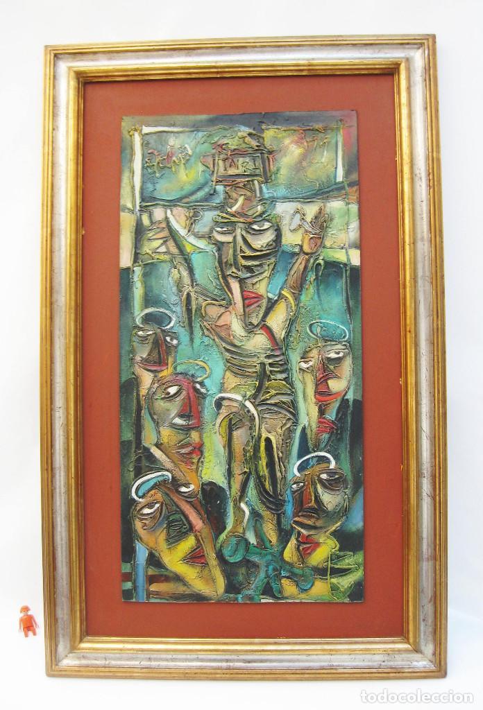 115X71CM GRAN CUADRO PINTURA RELIGIOSA JESUCRISTO EN CRUZ CUBISTA ESTILO PICASSO FIRMADO EZEQUIEL (Arte - Arte Religioso - Pintura Religiosa - Otros)