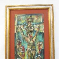 Arte: 115X71CM GRAN CUADRO PINTURA RELIGIOSA JESUCRISTO EN CRUZ CUBISTA ESTILO PICASSO FIRMADO EZEQUIEL. Lote 114682771