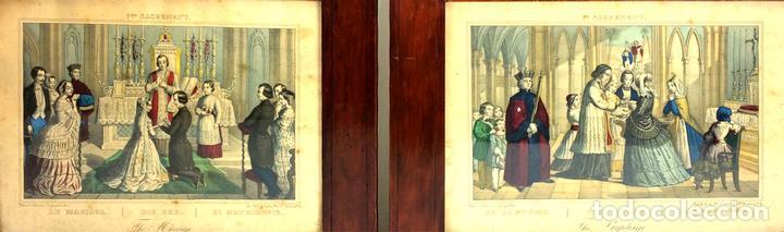 PAREJA DE GRABADOS. EL MATRIMONIO.EL BAUTIZO. COLOREADOS. GANGEL. METZ. FRANCIA. XIX (Arte - Arte Religioso - Grabados)
