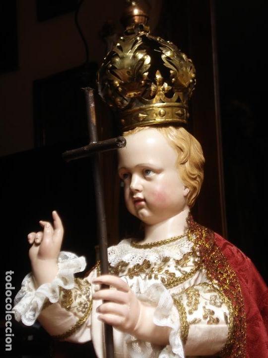 NIÑO JESUS ESCUELA PARISINA SXIX DIVINO REDENTOR TALLA DE MADERA 90CM GRANDES MEDIDAS (Arte - Arte Religioso - Escultura)