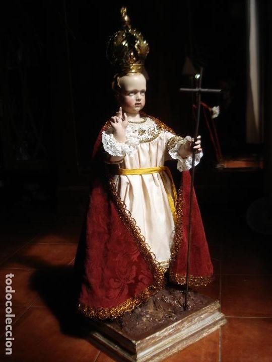 Arte: NIÑO JESUS ESCUELA PARISINA SXIX DIVINO REDENTOR TALLA DE MADERA 90CM GRANDES MEDIDAS - Foto 4 - 114884759