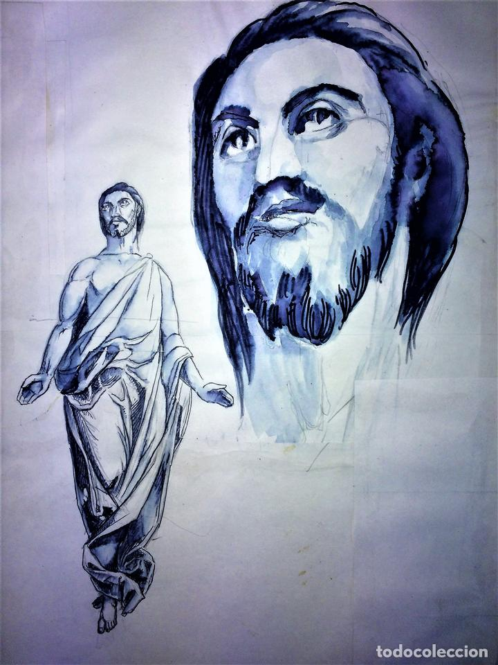 JESUCRISTO RESUCITADO. ACUARELA SOBRE PAPEL. ATRIB. GORGUES. ESPAÑA. CIRCA 1950 (Arte - Arte Religioso - Pintura Religiosa - Acuarela)