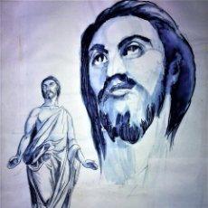 Arte: JESUCRISTO RESUCITADO. ACUARELA SOBRE PAPEL. ATRIB. GORGUES. ESPAÑA. CIRCA 1950. Lote 115218663