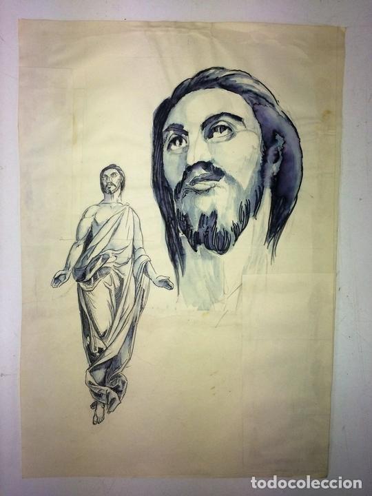 Arte: JESUCRISTO RESUCITADO. ACUARELA SOBRE PAPEL. ATRIB. GORGUES. ESPAÑA. CIRCA 1950 - Foto 2 - 115218663