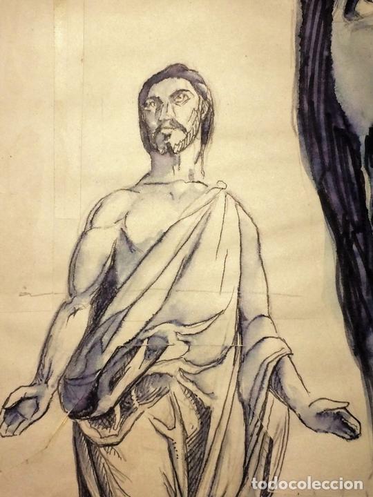 Arte: JESUCRISTO RESUCITADO. ACUARELA SOBRE PAPEL. ATRIB. GORGUES. ESPAÑA. CIRCA 1950 - Foto 3 - 115218663