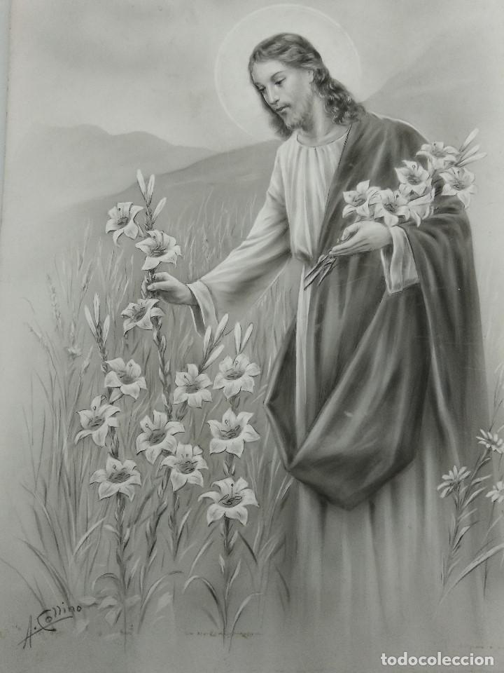DIBUJO ORIGINAL DE JESUS DEL ILUSTRADOR ANTONIO COLLINO A. KOLLIN ITALIA MILAN CARTELISTA (Arte - Arte Religioso - Pintura Religiosa - Otros)