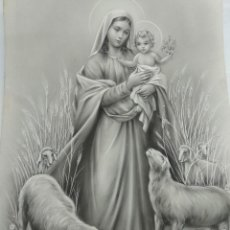 Arte: DIBUJO ORIGINAL DE LA VIRGEN MARIA CON EL NIÑO DEL ILUSTRADOR ANTONIO COLLINO A. KOLLIN ITALIA . Lote 115229419