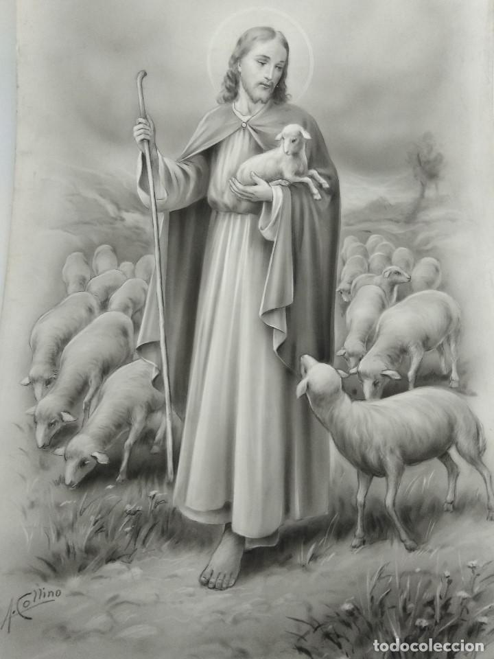 DIBUJO ORIGINAL DE JESUCRISTO PASTOR ILUSTRADOR ANTONIO COLLINO A. KOLLIN ITALIA MILAN CARTELISTA (Arte - Arte Religioso - Pintura Religiosa - Otros)