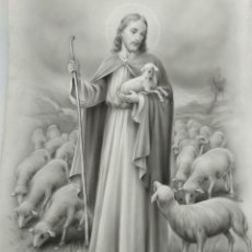 Arte: DIBUJO ORIGINAL DE JESUCRISTO PASTOR ILUSTRADOR ANTONIO COLLINO A. KOLLIN ITALIA MILAN CARTELISTA. Lote 115234971