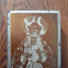 Arte: ANTIGUA PLANCHA METALICA SOBRE MADERA PARA IMPRIMIR LA IMAGEN DE MARIA SANTISIMA DE REGLA SEVILLA. Lote 115342411
