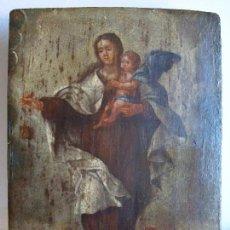 Arte: ÓLEO SOBRE TABLA,VIRGEN DEL CARMEN.CARMELITAS.MONTE CARMELO. PINTURA ANTIGUA.. Lote 115357291