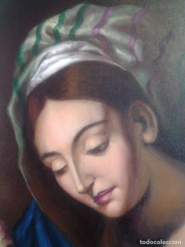 Arte: VIRGEN CON EL NIÑO JESÚS. JOLOGA. LIENZO 65X88,5 - Foto 4 - 115398263