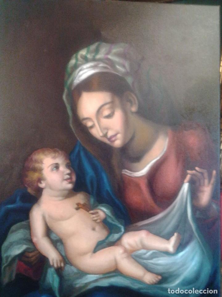 Arte: VIRGEN CON EL NIÑO JESÚS. JOLOGA. LIENZO 65X88,5 - Foto 7 - 115398263