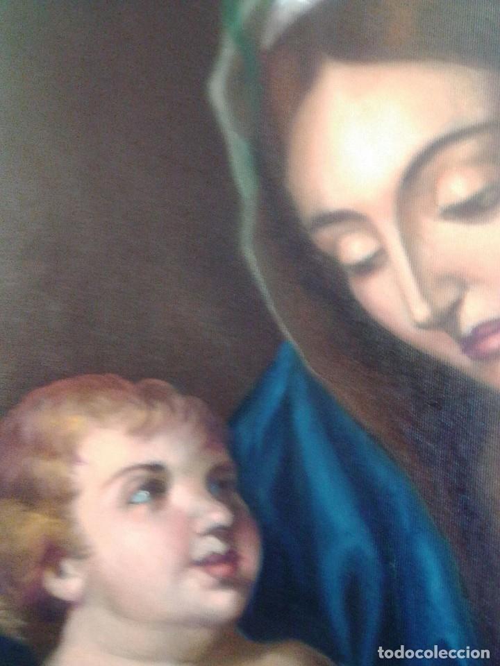 Arte: VIRGEN CON EL NIÑO JESÚS. JOLOGA. LIENZO 65X88,5 - Foto 9 - 115398263