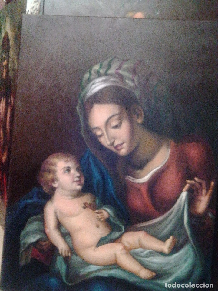 Arte: VIRGEN CON EL NIÑO JESÚS. JOLOGA. LIENZO 65X88,5 - Foto 12 - 115398263