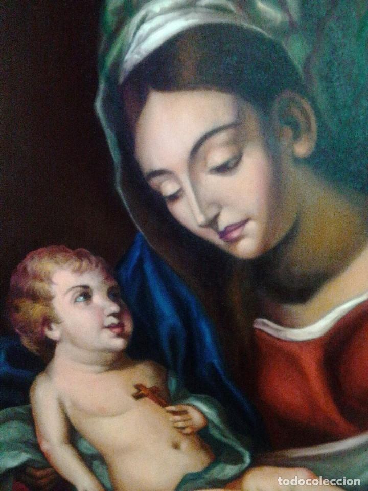 Arte: VIRGEN CON EL NIÑO JESÚS. JOLOGA. LIENZO 65X88,5 - Foto 3 - 115398263