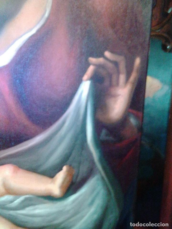 Arte: VIRGEN CON EL NIÑO JESÚS. JOLOGA. LIENZO 65X88,5 - Foto 13 - 115398263