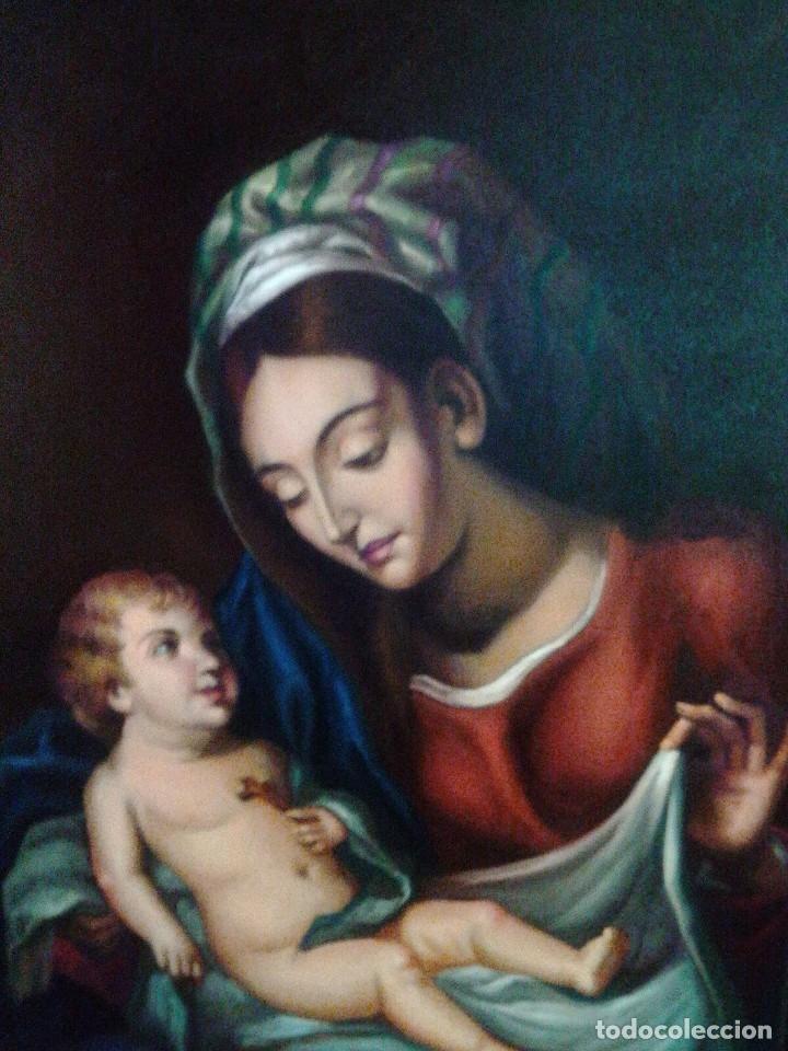 Arte: VIRGEN CON EL NIÑO JESÚS. JOLOGA. LIENZO 65X88,5 - Foto 2 - 115398263
