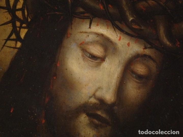 Arte: Ecce Homo. Oleo sobre cobre de la escuela italiana del siglo XVI. Medidas de 27 x 19 cm. - Foto 5 - 115527943