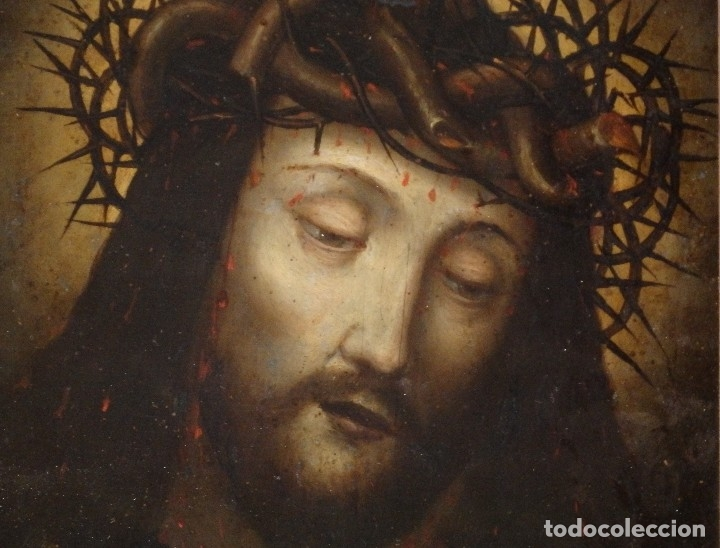 Arte: Ecce Homo. Oleo sobre cobre de la escuela italiana del siglo XVI. Medidas de 27 x 19 cm. - Foto 4 - 115527943