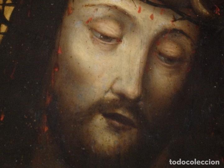 Arte: Ecce Homo. Oleo sobre cobre de la escuela italiana del siglo XVI. Medidas de 27 x 19 cm. - Foto 7 - 115527943