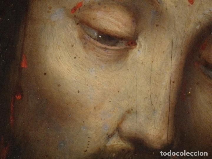 Arte: Ecce Homo. Oleo sobre cobre de la escuela italiana del siglo XVI. Medidas de 27 x 19 cm. - Foto 10 - 115527943