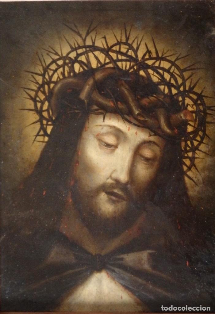 ECCE HOMO. OLEO SOBRE COBRE DE LA ESCUELA ITALIANA DEL SIGLO XVI. MEDIDAS DE 27 X 19 CM. (Arte - Arte Religioso - Pintura Religiosa - Oleo)