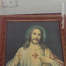 Arte: ANTIGUO CUADRO GRABADO LAMINA CORAZON DE JESUS. Lote 115537571