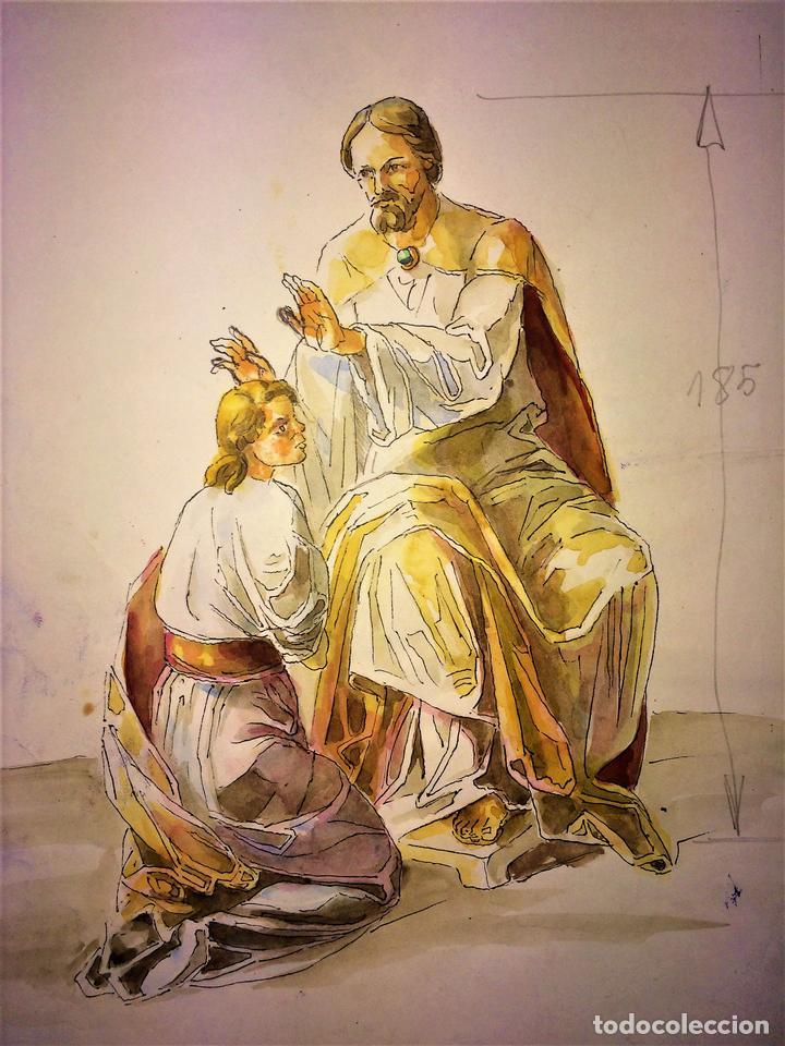 JESÚS IMPONIENDO LAS MANOS. ACUARELA SOBRE PAPEL. ATRIB. GORGUES. ESPAÑA. CIRCA 1950 (Arte - Arte Religioso - Pintura Religiosa - Acuarela)